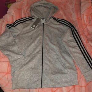 Adidas Gray ZIP Up with Hood - women's sweatshirt